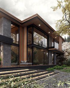 Modern Exterior House Designs, Modern Farmhouse Exterior, Dream House Exterior, Modern House Plans, Modern House Design, Exterior Design, New Home Designs, Facade Architecture, Residential Architecture