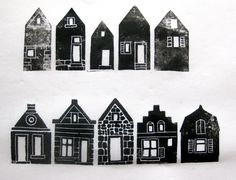 Anne Meyer: linocut houses