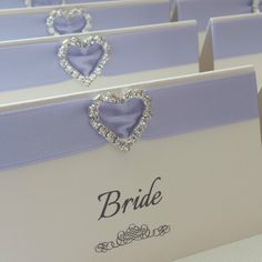 Ivory Lilac Personalised Heart Diamante Wedding Reception Name Place Cards