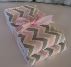 Baby Burp Cloths - Pink and Gray Chevron   Set of 2 - READY TO SHIP. $9.25, via Etsy.