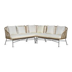 Create an outdoor space you never want to come inside from with this Hampstead corner sofa from Garden Trading. Made from all-weather bamboo rattan, this sofa has powder coated steel legs. Contemporary Garden Furniture, Sofa Material, Corner Sofa Set, Furniture Care, Garden Sofa, Rattan Sofa, White Cushions, Seat Pads, Outdoor Sofa