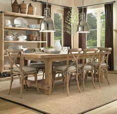 Restoration hardware: benson pendant lights, Madeleine side chairs, rustic dining table