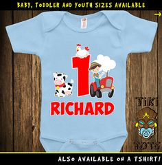 Funny Farmer Farm 1st First Birthday One Year Old T-shirt Personalized Any Name Or Age Animals Tee Shirt Gift Bodysuit Toddler Clothes