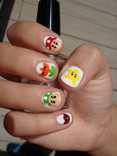 Mario nail art on daughter's nails. http://instagram.com/naq57