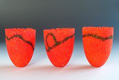 image of Summer at Mahinepua pate de verre vessels made by Sue Hawker