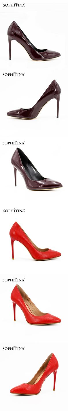 SOPHITINA Extreme high Thin heels Pump 2017 Sexy Pointed Toe pumps Red Cow Leather  Patent Leather e179982d692c