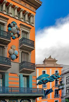Orange and Aqua - Umbrella Shop, Barcelona, Spain Shopping In Barcelona, Barcelona Travel, Gaudi, Beautiful Buildings, Beautiful Places, Umbrella Shop, Blue Umbrella, Places To Travel, Places To Visit