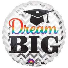 Anagram 17 inch Dream Big Grad Foil BalloonLet your aspirations soar with our Silver Chevron Dream Big Graduation Balloon! This round graduation balloon features a white and silver chevron background with a rainbow and black  'Dream Big! ' headline. With a doodle of a mortarboard, this double-sided graduation balloon works great as a balloon decoration for your awesome grad night party!QUALITY PRODUCTS ALWAYSOUR PRODUCTS ARE 100% AUTHENTIC & GENUINE100% OF THE TIMEFoil balloons make…