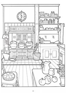 Coloring Pages For Grown Ups, Adult Coloring Book Pages, Coloring Pages To Print, Free Coloring Pages, Printable Coloring Pages, Coloring Sheets, Coloring Books, Food Coloring, Victorian Homes