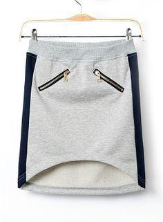 Grey Zipper Embellished High Low Skirt - Sheinside.com