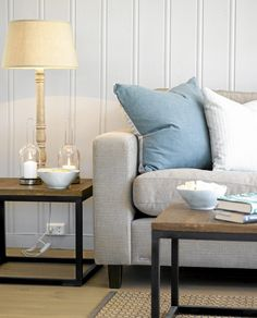 Cottages By The Sea, Work Surface, Modern Kitchen Design, Family Room, Accent Chairs, Sofa, Throw Pillows, Living Room, Bed