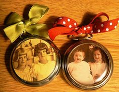 Old Vintage Pocket Watches...re-purposed into one-of-a-kind family heirlooms with photos!! Could also glue a jewelry pin on the back to use as a brooch or gift as an ornament!