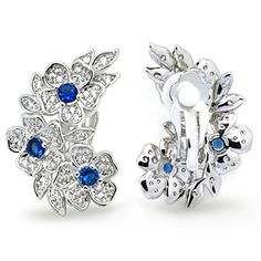 Sparkly Bride Blue White CZ Cluster Flower Leaves Ear Climber Fashion Clip on Earrings * Details can be found by clicking on the image.
