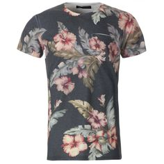 Twisted Soul Mens White Floral Sublimation  T-Shirt