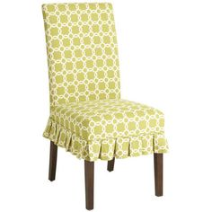 Custom-tailored to fit our Dana Parsons Dining Chair Form, this flirty 100% cotton slipcover flaunts a fresh geometric pattern on front and sides, reverse pattern on back. Self welt detail and a ruffly box-pleated skirt complete the equation. A Pier 1 exclusive.