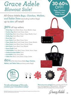 Grace Adele purses and clutches! On sale Monday!!