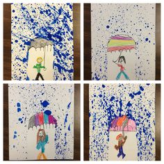 "Inspired by the melted crayon art, I created this splatter paint project so I could talk to my Kindergarteners about the weather in the spring, ""April showers bring May flowers!"" They LOOOVED getting messy with the splatter paint. And the kids who don't consider themselves artists loved that they didn't have to touch their brush to their paper!"