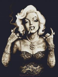 gangsta marilyn by marcus jones celebrity monroe punk tattoo canvas art print punk-edit smoking cigarette gangster hip-hop Marilyn Monroe Dibujo, Marilyn Monroe Drawing, Marilyn Monroe Tattoo, Marilyn Monroe Photos, Punk Tattoo, Demon Tattoo, Tattoo Art, Marilyn Monroe Wallpaper, Modelos Pin Up