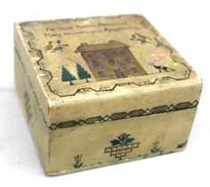 late 19thC small lift top school girl art box w hand painted Sampler type decoration