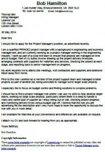 cover letter example for a project manager - Good Resume Cover Letter Examples