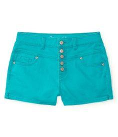 High-Waisted Color Wash Denim Shorty Shorts