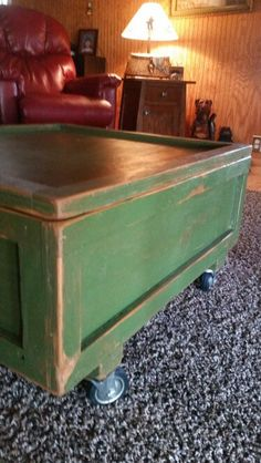 Littrell Inc Original Product Industrial Shipping Box Repurposed as Coffee on Castors