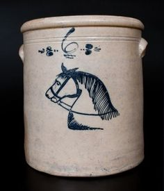 Rare Stoneware Horse Head Crock, Midwestern Origin It sold at Crocker Farm Auction,10/2014.  $ 2500.00