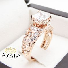 Princess Cut Engagment Ring Moissanite Engagement Ring 14K Rose Gold Princess Cut Diamond Ring