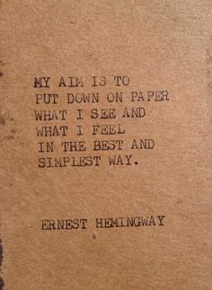 THE HEMINGWAY 2: Typewriter quote on 2.5 x 5 tag/bookmark on Etsy, $4.00