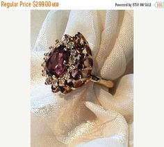SALE 20% OFF Vintage Red Amethyst Ring Pear Cut w/ White Zircons in Yellow Gold Estate Jewelry Cocktail Ring 6th Anniversary Mothers Day Bir
