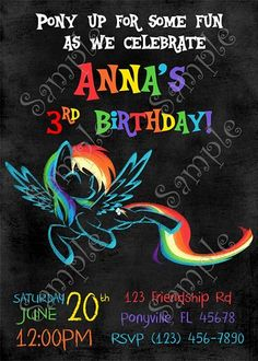 My Little Pony Rainbow Dash Birthday Invitation and thank you card