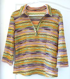 Vintage Missoni type fabric woman's T knit blouse shirt 42 bust hand worked 1960 1970 orange green purple brown gold moonglo button