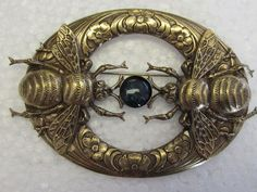 Banana Bob Nouveau Bee Brooch Stone Large Vtg Brass Insect Jewelry Unsigned | eBay