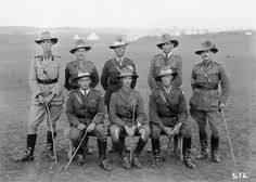 Group portrait of unidentified officers of the 1st Australian Light Horse Brigade in Palestine, 1918.