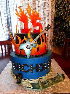 Heavy metal guitar cake