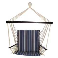A twist on the classic bed hammock, the Bliss Hammocks Metro Striped Hammock Chair takes up less space while still providing big relaxation! Hanging Hammock Chair, Hammock Stand, Swinging Chair, Cheap Comfy Chairs, Cool Chairs, Backyard Trees, Double Hammock, Wayfair Living Room Chairs, Office Chair Without Wheels