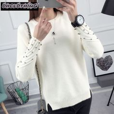 OHCLOTHING 2017 new spring Korean Short all-match winter sweater knitted shirt with long sleeves loose women sweater pullover   Price: 10.81 USD