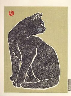 japanese woodcut kitty.  Love how the chop mark balances the print. Now if only Jessie could pick a chop for herself...