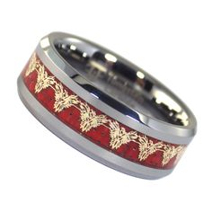 Sale! Get this cool tungsten phoenix firebird ring for only $46.99 free shipping and a free gift box included! This men's and women's Trans-Am inspired firebird ring is a great addition to your Trans Am jewelry collection. There is an inlay of red carbon fiber with a gold-colored firebird phoenix that repeats around the entire band. Available in size 5, 6, 6.5, 7, 7.5, 8, 8.5, 9, 9.5, 10, 10.5, 11, 12, 13, 14, 15, 16, and 17. #Phoenix #Firebird #TransAm #TungstenRings #FantasyForgeJewelry Firebird Car, Gibson Firebird, Pontiac Firebird, Tungsten Jewelry, Tungsten Rings, Phoenix Makeup, Phoenix Costume, Phoenix Bird Tattoos, Dragon Ring