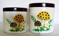 Vintage Retro Merry Mushroom Flour Sugar Melmac Nesting Lidded Canisters Jars | eBay