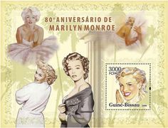 This sheet was issued by Guinea-Bissau  in 2006 to commemorate the 80th anniversary of  Marilyn.