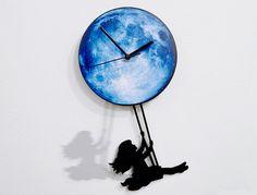 Girl Swinging on the Moon  Pendulum Wall Clock door SolPixieDust