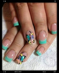 Glamorous Flower Nail Art Designs for Summer French Nail Designs, Nail Designs Spring, Toe Nail Designs, Beautiful Nail Designs, Nails Design, Fancy Nails, Get Nails, Pretty Nails, Elegant Nails