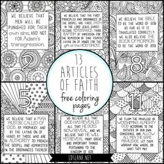 lds articles of faith coloring pages free printable articles and