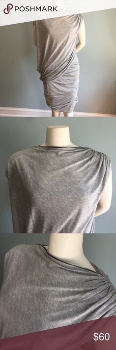 "Cut25 Gray Knit Dress NWOT and never worn, this super cool dress is pullover with zipper shoulder and draped overlay details. 100% modal (rayon). Hand wash. Bust 39"" waist 32"" length 36."" Lots of give and the drape covers a host of imperfections making it surprisingly forgiving and flattering, Trust me. Cut25 by Yigal Azrouel Dresses"