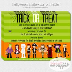 Halloween Costume Party Invitation, Trick of Treat Children's Halloween Party Invitation - 5x7 PRINTABLE