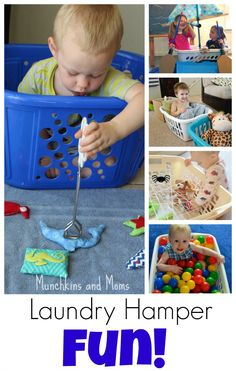 Creative pretend play opportunities with a laundry hamper! Toddler Play, Toddler Learning, Toddler Preschool, Indoor Activities For Toddlers, Infant Activities, Learning Activities, Rainy Day Fun, Laundry Hamper, Tot School