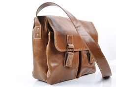 Messenger bag made of 100% Brown Leather for every day use as laptop book or school bag by abizema on Etsy