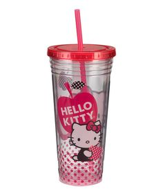Take lemonade and ice water on the go with this sweet tumbler. Featuring a Hello Kitty theme, it boasts durable acrylic construction plus a straw and lid for spill-free sipping.