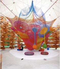 This enormous sculptural climbing net is housed inside a wooden pavilion at the Hakone Open Air Museum in Japan